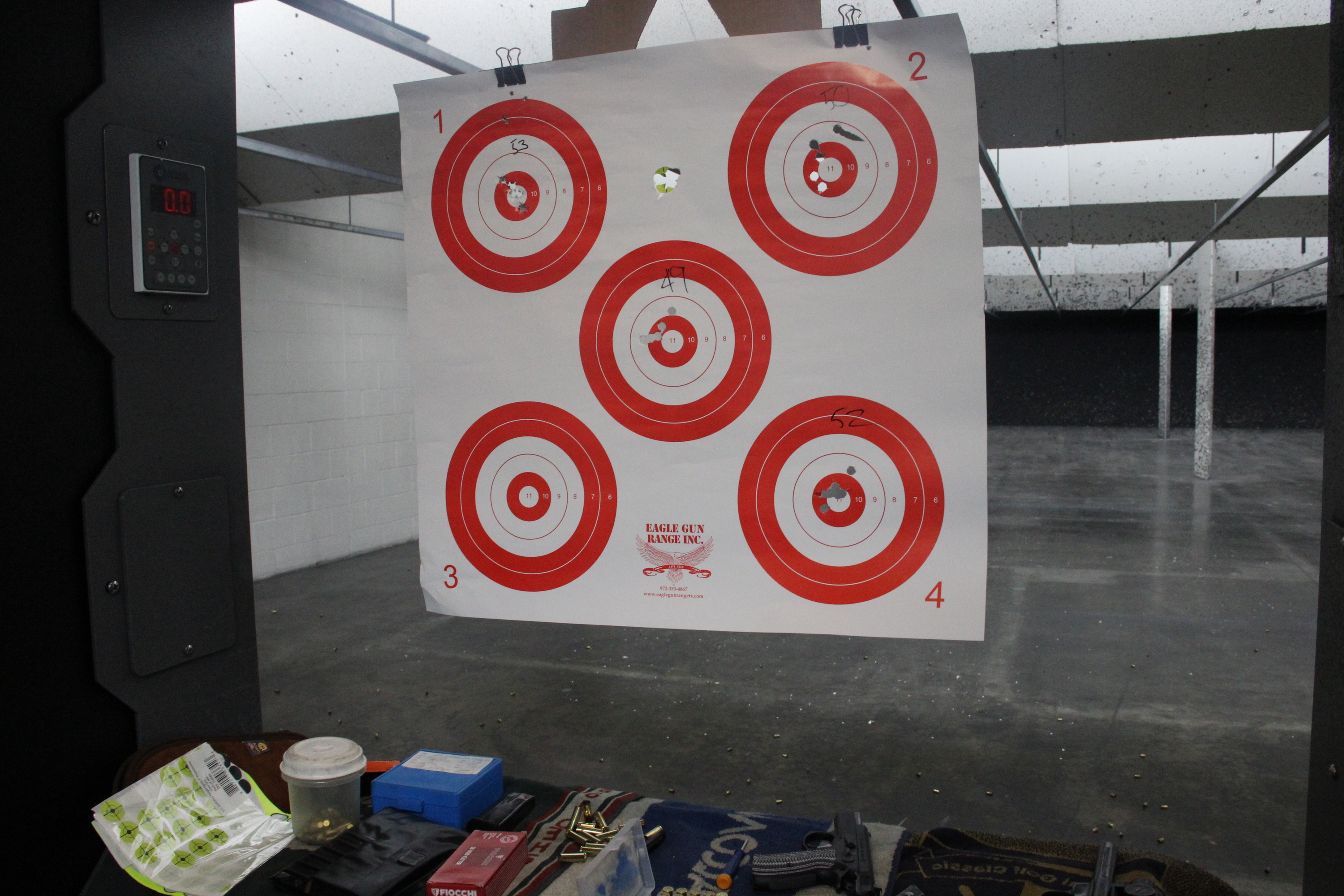 Target practice at Eagle Gun Range in Lewisville, Texas.